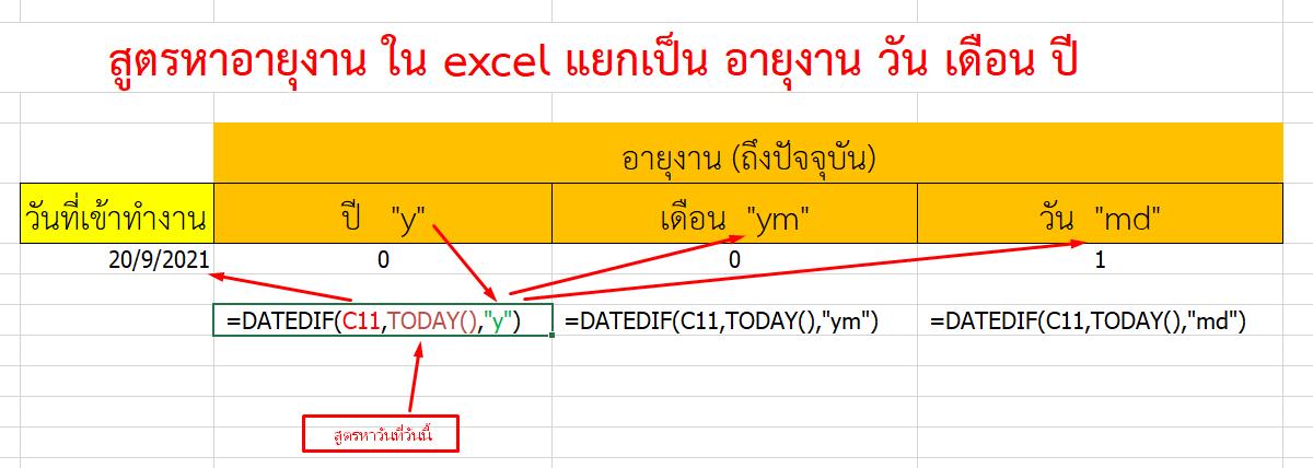 สูตรหาอายุงาน ใน excel เป็น อายุงาน วัน เดือน ปี โดยใช้ DATEDIF