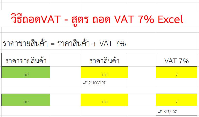 สูตร ถอด VAT 7% Excel หรือ วิธีคิด vat ย้อนกลับ หรือคิดภาษีมูลค่าเพิ่ม 7% ย้อนกลับ